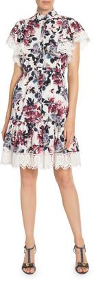 Erdem Lalique Floral-Print Poplin Lace-Trim Dress