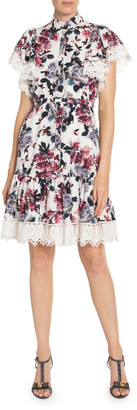 Erdem Lalique Floral-Print Poplin Lace-Trim Dress