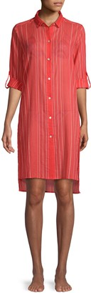 Vix By Paula Hermanny Striped High-Low Cotton Coverup Dress