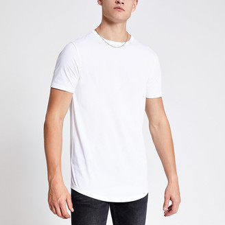 River Island White curved hem longline T-shirt