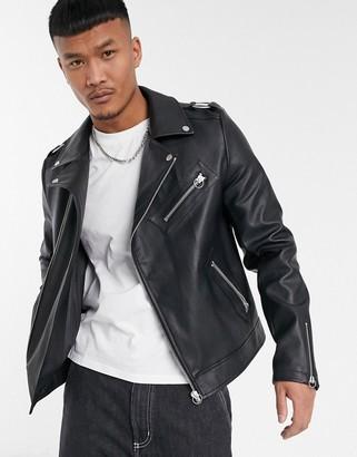 Asos Design DESIGN biker jacket in faux leather with shoulder ring detail in black