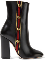 Gucci Embellished Canvas-trimmed Leather Ankle Boots - Black
