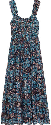 Ulla Johnson Evianna Ruched Printed Fil Coupe Silk And Lurex-blend Gown