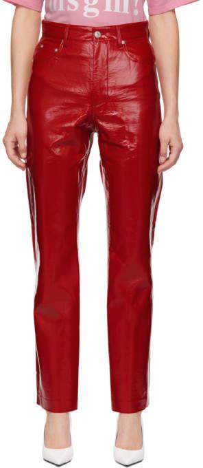 MSGM Red Vinyl Trousers