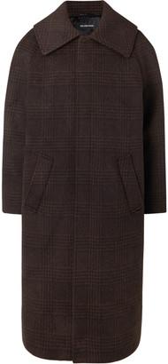 Balenciaga Oversized Checked Wool-Blend Coat