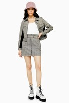 Topshop Black and White Check Buckle Belt Skirt