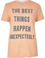 River Island Womens Coral 'Best Things' print T-shirt
