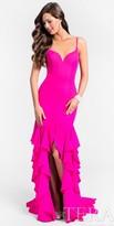 Terani Couture Spaghetti Strap Front Slit Ruffle Dress