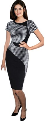 TUDUZ Hot Women Elegant Short Sleeve Plaid Patchwork Business Dress Sexy Office Bodycon Slim Pencil Dresses (Black L3)