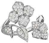 Penny Preville 18k White Gold Pavé Diamond Flower-Wrap Ring, Size 6