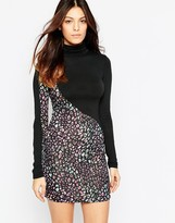 French Connection Electric Leopard High Neck Dress In Black