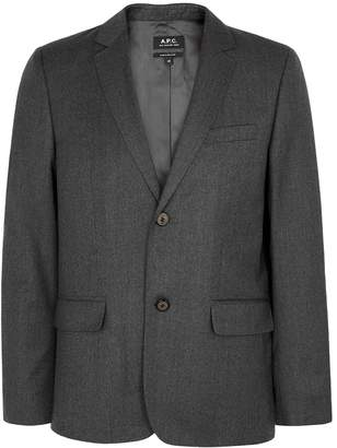 A.P.C. Grey Wool Flannel Blazer