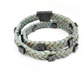 Tissuville Jargon Jade Leather Wrap Tarmac Bracelet With Black Studs