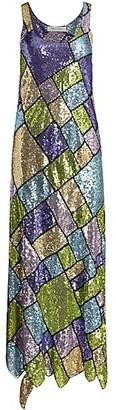 Prabal Gurung Sleeveless Sequin Patchwork Midi Dress