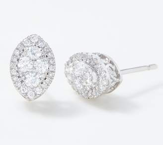 Affinity Diamond Jewelry Affinity 14K Marquise Diamond Cluster Stud Earrings, 1/2 cttw