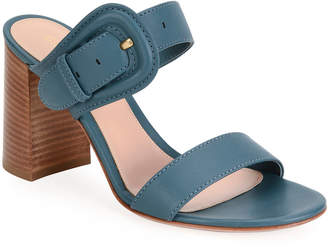 Gianvito Rossi Leather Buckle Slide Sandals