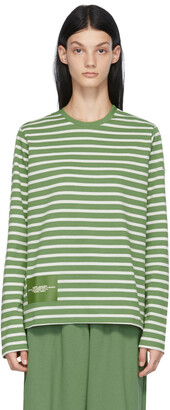 Marc Jacobs Green & White 'The Striped T-Shirt' Long Sleeve T-Shirt