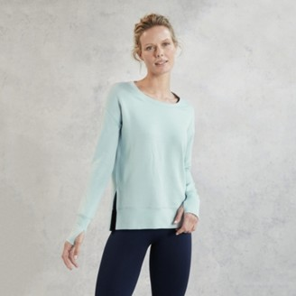 The White Company Side Split Crew-Neck Sweater, Ice Blue, Extra Small