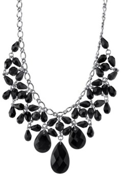 2028 Silver-Tone Black Faceted Statement Bib Necklace