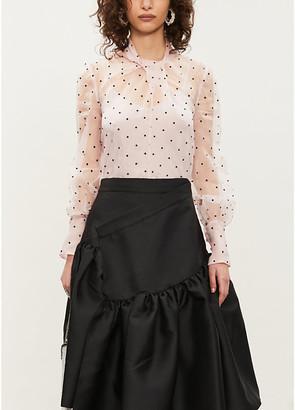 Erdem Fayola velvet polka dot-pattern chiffon top