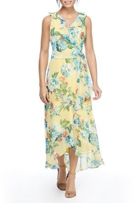 London Times Floral Print Ruffle Hem Chiffon Maxi Dress (Plus Size)