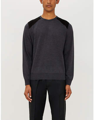 Canali Suede shoulder-patch fine-knit wool jumper
