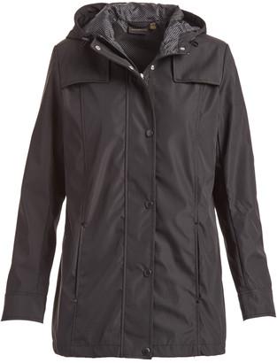 Weatherproof Women's Windbreakers and Shell Jackets Black - Black Hooded Raincoat - Women