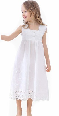 Minitimes 2019 Girls Nightdress Lace Princess Nighties Nightgown Sleepwear White Nightdress Casual Lounge (White1 150/11-12Years)