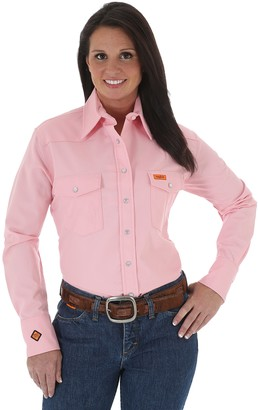 Wrangler Riggs Workwear Womens Fr Flame Resistant Western Long Sleeve Snap Work Utility Button Down Shirt