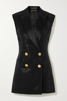 Versace Satin-trimmed Crystal-embellished Cady Vest - Black
