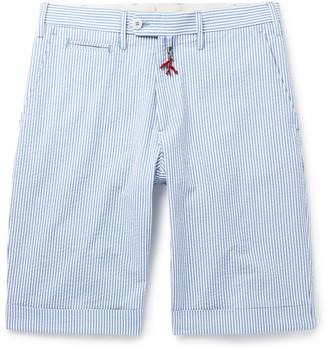Isaia Striped Cotton-Seersucker Shorts
