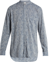 Paul Smith Collarless floral-jacquard shirt