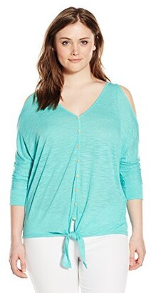 Democracy Women's Plus Size Knit Cold Shoulder Top with Tie Front and Button Details