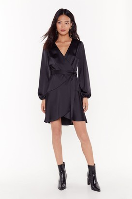 Nasty Gal Womens Touch and Go Wrap Satin Dress - Black