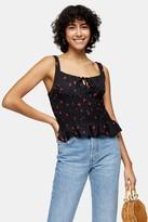 Topshop Womens Black Cherry Print Shirred Cami - Black