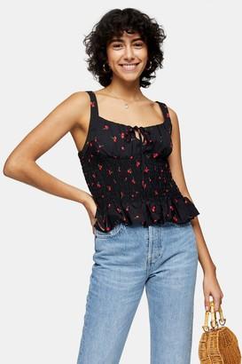 Topshop Black Cherry Print Shirred Cami