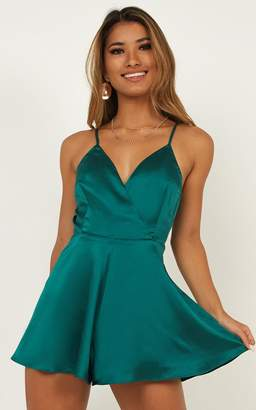 Showpo Shes Got This Playsuit In Emerald Satin - 18 (XXXL) Playsuits &