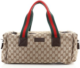 Gucci Web Strap Carry On Duffle Bag GG Canvas Small