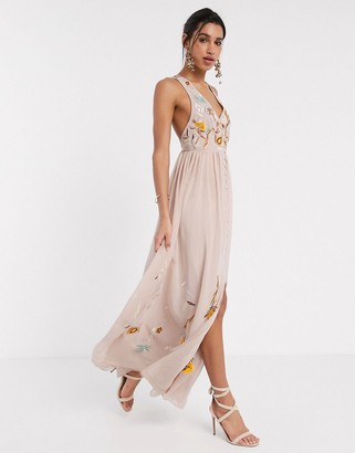 Frock and Frill embroidered button front maxi dress in light pink