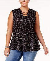 Style&Co. Style & Co Plus Size Printed Lace-Up Peasant Top, Created for Macy's