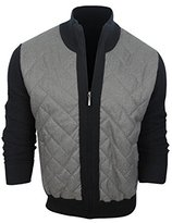 DKNY Men's Long Sleeve Quilted Woven Front Sweater Jacket