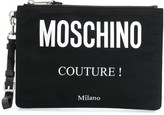 Moschino logo print clutch bag