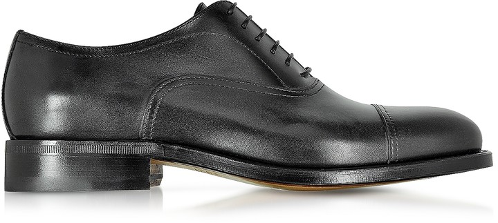 Moreschi Cardiff Black Genuine Leather Goodyear Oxford Shoe