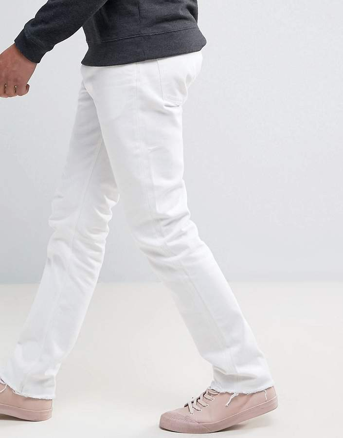 Weekday Sharp Skinny Jeans Rigid Denim Cut Off White