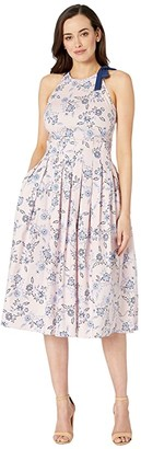 Donna Morgan Halter Neck Stretch Cotton Poplin Midi Dress w/ Paper-Bag Waist (Blush/Blue) Women's Clothing