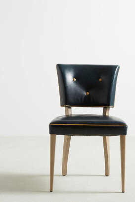 Anthropologie Premium Leather Promena Dining Chair By in Blue Size S