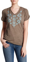 Democracy Embroidered V-Neck Tee