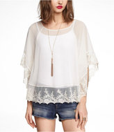 Express Embroidered Chiffon Caftan Top