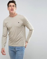 Abercrombie & Fitch Long Sleeve Top Muscle Slim Fit Moose Embroid In Beige