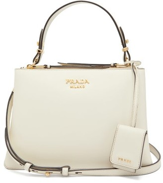 Prada Deux Leather Handbag - Womens - White